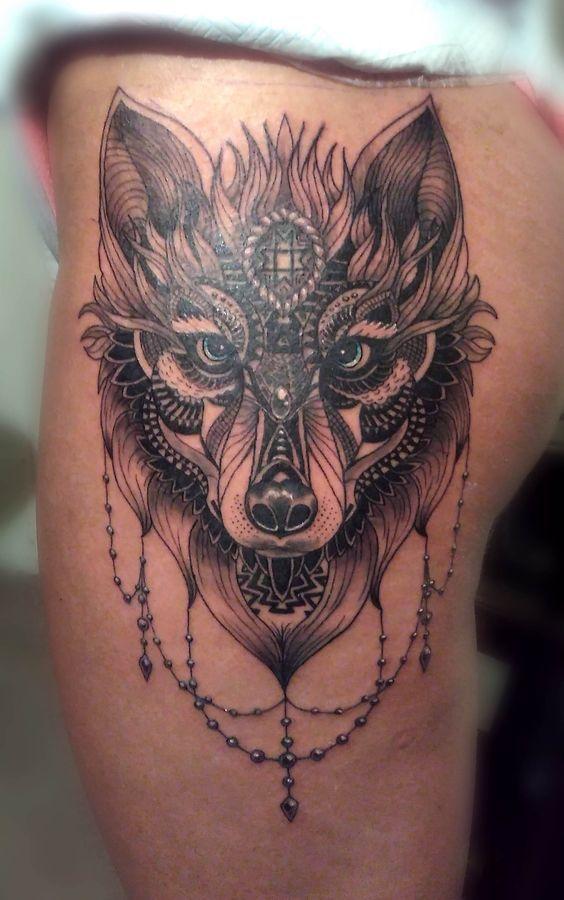 wolf front thigh cover up pinterest wolf tattoo design tattoo designs und die sonne. Black Bedroom Furniture Sets. Home Design Ideas
