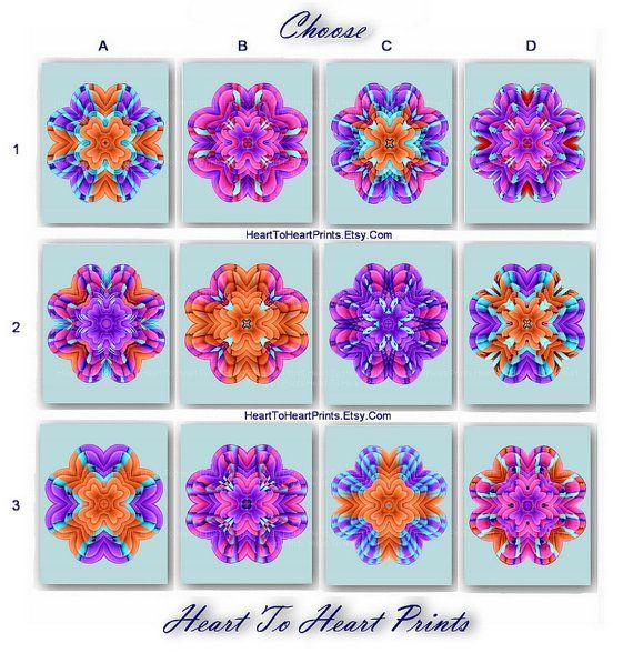 Flower Wall Art Floral Home Decor Pink Orange Teal Aqua Purple Abstract Dahlia Print Boho