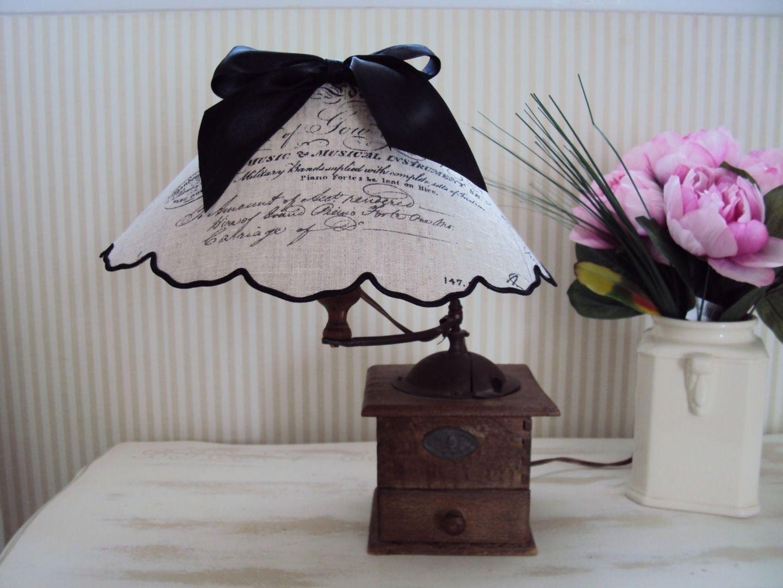 Lampe moulin à café et son abat-jour en lin | lampkapjes | Pinterest ...
