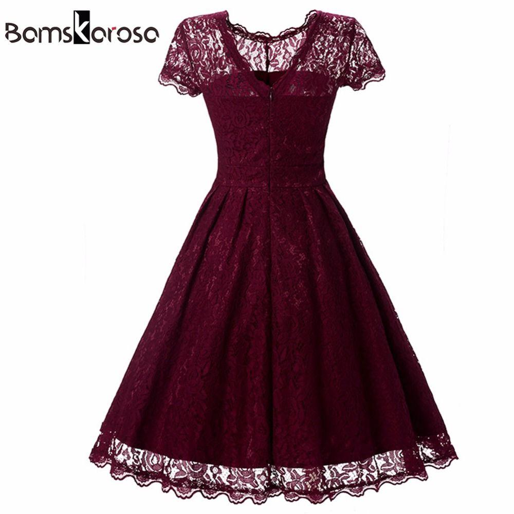 Bamskarosa Hot Sale Womens Summer Lace Dress 2017 Vintage O Neck ...