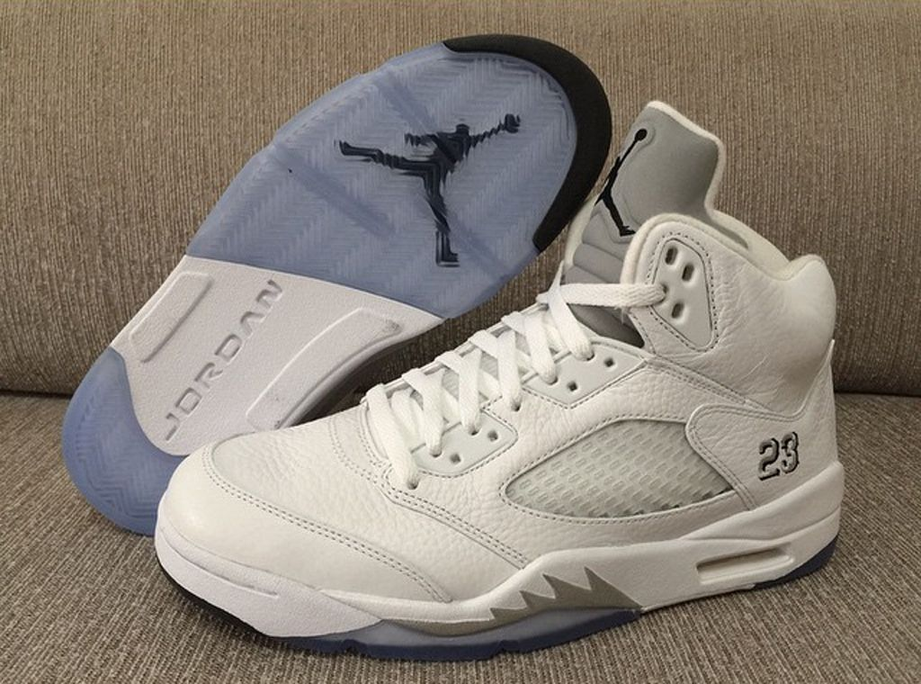 2015 Cheap Real Air Jordan 5 Retro All White Shoes
