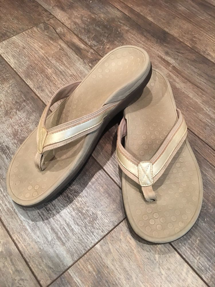 f10f751b2bf VIONIC Orthaheel Tide II Womens SZ 7 Gold Arch Support Flip Flop Thong  Sandals  fashion
