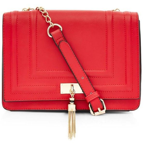 Red Tassel Chain Shoulder Bag ($24) ❤ liked on Polyvore featuring bags, handbags, shoulder bags, red, shoulder strap purses, chain handle purse, chain purse, chain handbags and red purse