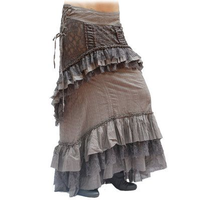 Steampunk Victorian Ruffle Grey Lace Skirt Long Short Adjustable 10/12 Small/Med | eBay