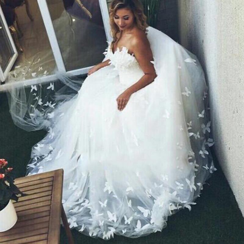 WD3358 Romantic Custom made Butterfly Wedding Dress Sweetheart Ball ...