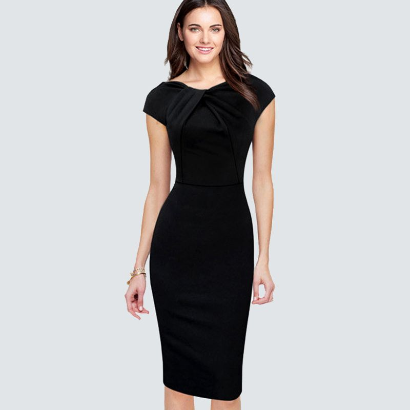 d86539500a7 Casual Summer Cap Sleeve Pencil Dress Women Elegant Wear To Work Office  Business Sheath Bodycon Black. Casual SummerPencil DressesCap ...