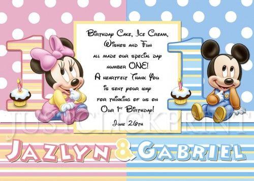TWINS Baby Minnie Mickey First Birthday Thank You Card Printable – Twin Birthday Cards