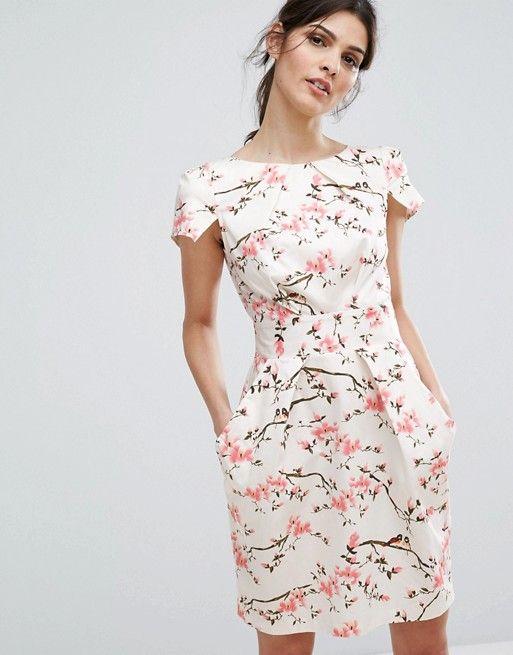 Closet London Robe Courte A Mancherons Motif Fleurs De Cerisier