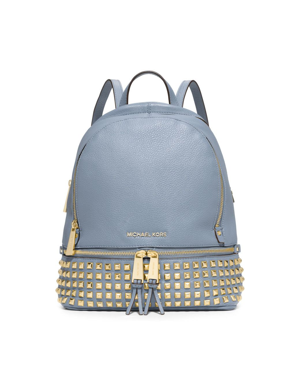 Michael Kors   Blue Rhea Small Studded Leather Backpack   Lyst   bags    Pinterest   Studded leather, Backpacks and Michael kors b73aeedda8