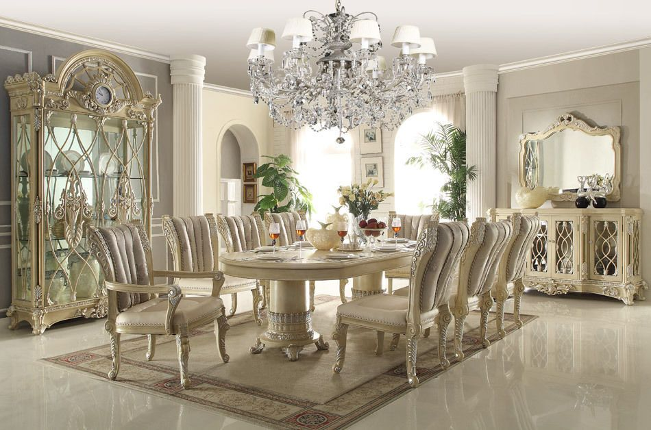 Homey Design HD 5800 DINING TABLE Set 8 Chairs China Buffet
