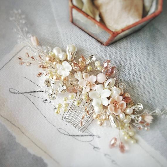 Bridal Hair Comb Flower Hair Comb Wedding Hair Comb Wedding Comb Bridal Headpiece Bridal Hair Piece Wedding Headpiece Blush Pink Wedding #bridalhairflowers
