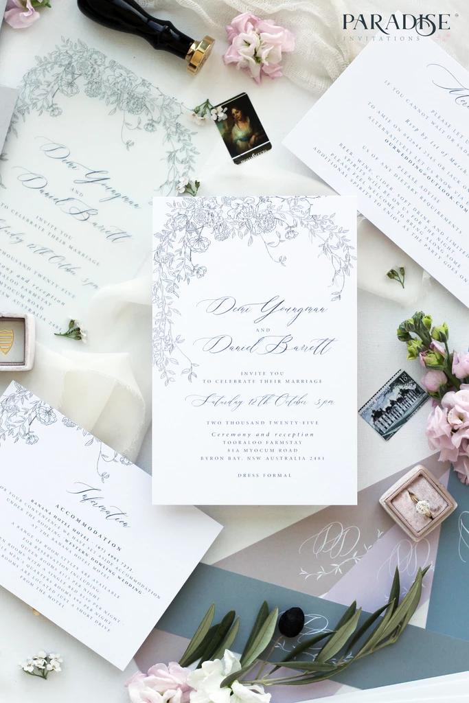 Marchesa Vellum Floral Wedding Invitation Floral Wedding Invitations Custom Wedding Cards Pretty Wedding Invitations