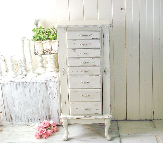 Large Jewelry Box Shabby Chic Free Standing Jewelry Armoire