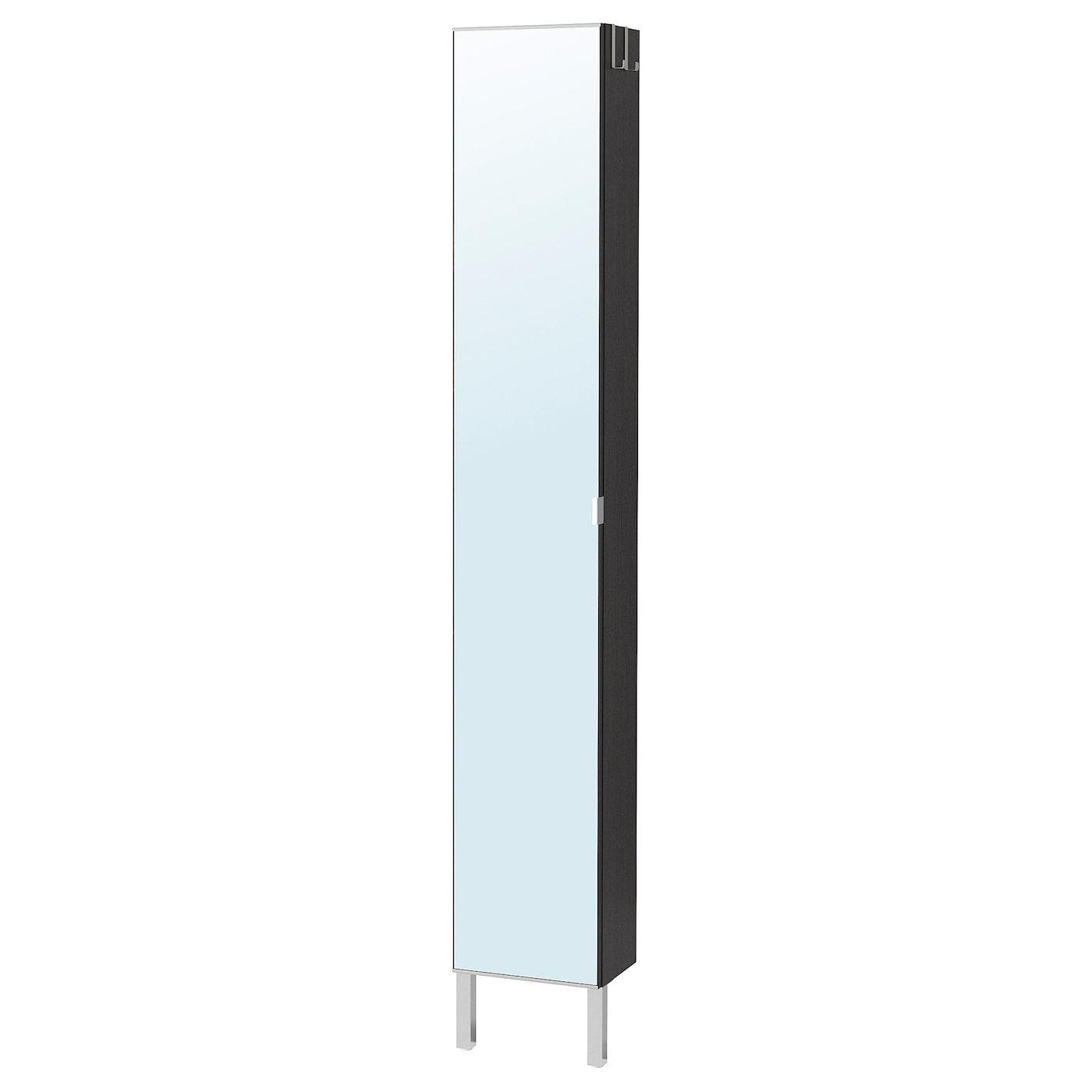 Lillangen Hoge Kast Met Spiegeldeur Zwartbruin 30x21x194 Cm Tall Mirrored Bathroom Cabinet Mirror Door Bathroom Mirror Cabinet