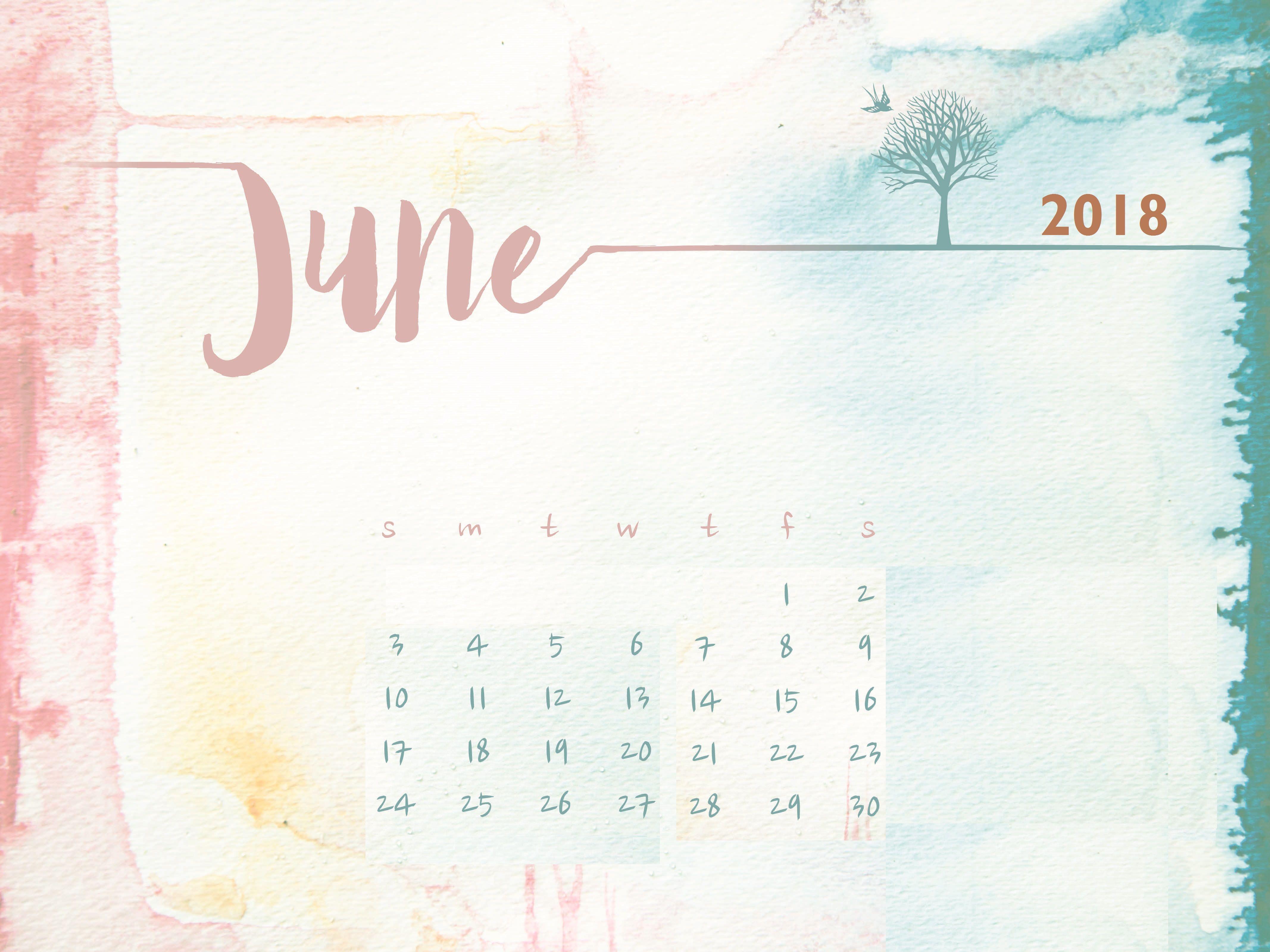 Watercolor June 2018 Desktop Calendar Desktop Calendar Watercolor Desktop Wallpaper Calendar Wallpaper