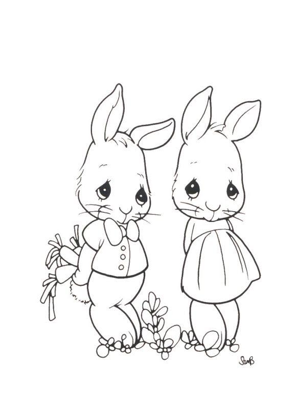 Rabbits Precious Moments Coloring Pages Kolorowanki Wzory