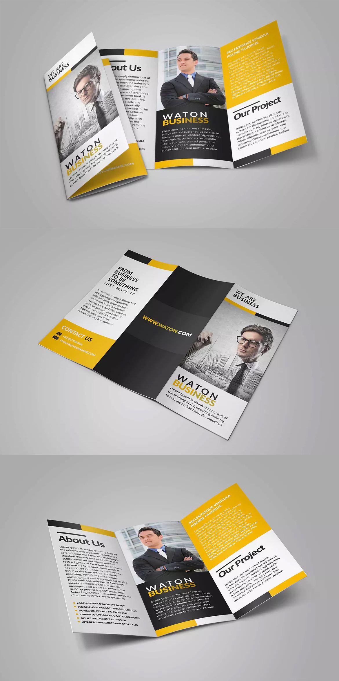 Carte De Visite Waton Business Trifold Brochure Template PSD Hotel Wedding