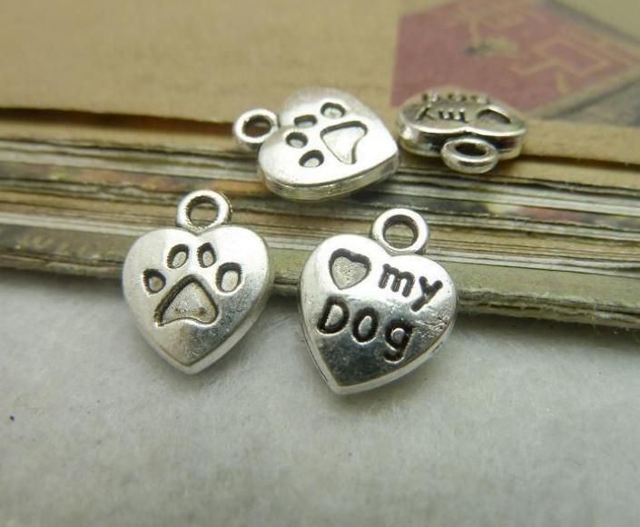 15pcs 10x13mm Antique Silver Mini Heart Love My Dog Charms Pendant  #Unbranded