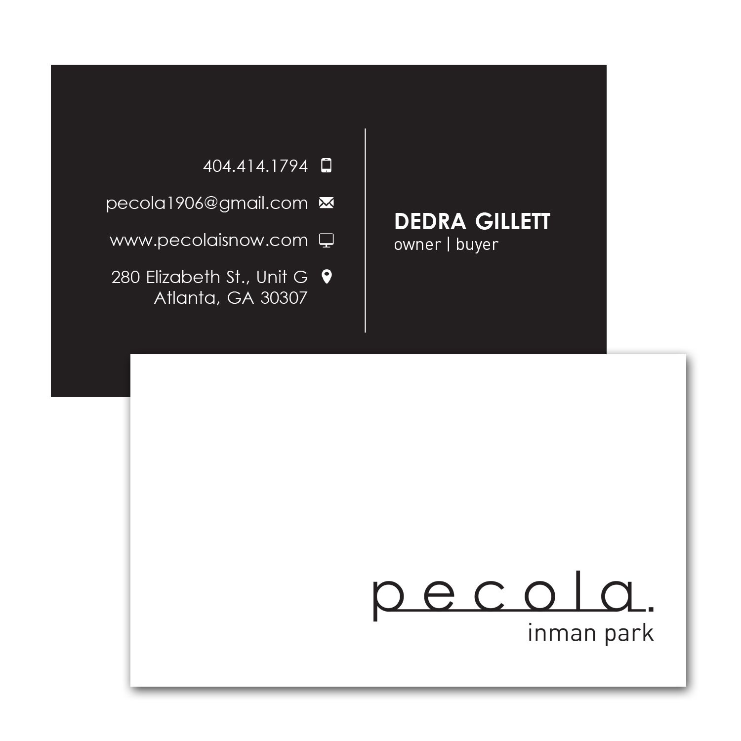business card design for dress and art boutique in inman park