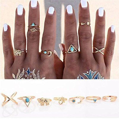 Banggood 7Pcs Vintage Steampunk Cross Moon Anillos Midi Finger Knuckle Rings Set Gold