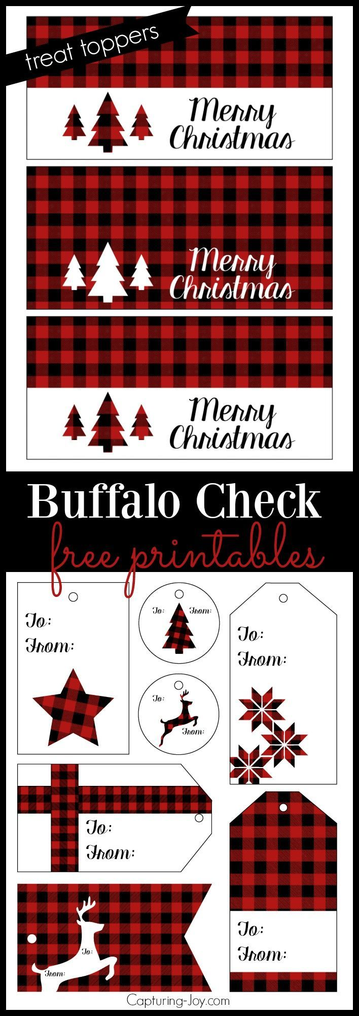 Buffalo check plaid free printables for Christmas Treat Toppers and gift tags!  Grab them on http://Capturing-Joy.com!