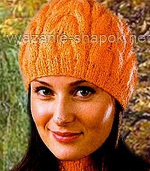 Схемы вязанных зимних женских шапок спицами