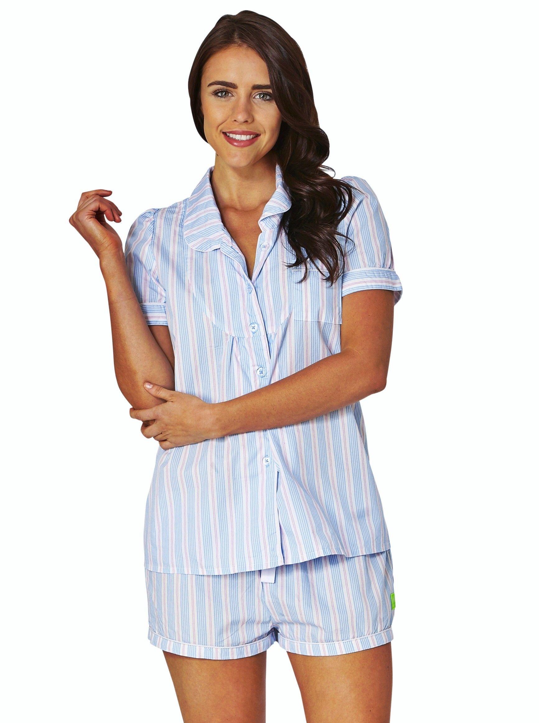 0d77545592d Pink and blue stripe women's cotton short sleeve pyjama shirtPink ...