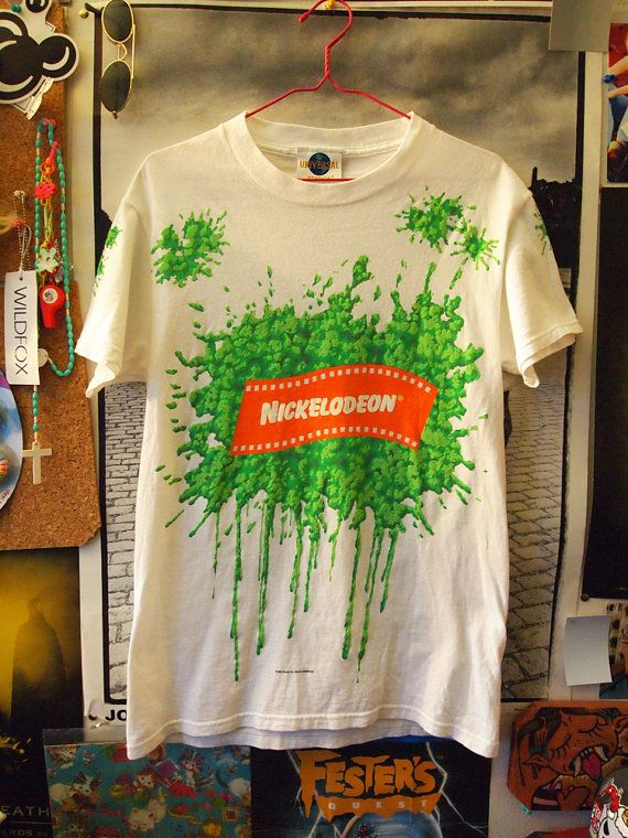 12d3c101be5c NICKELODEON SLIME// Vintage 90s Green Slime Show Neon Shirt, S via Etsy