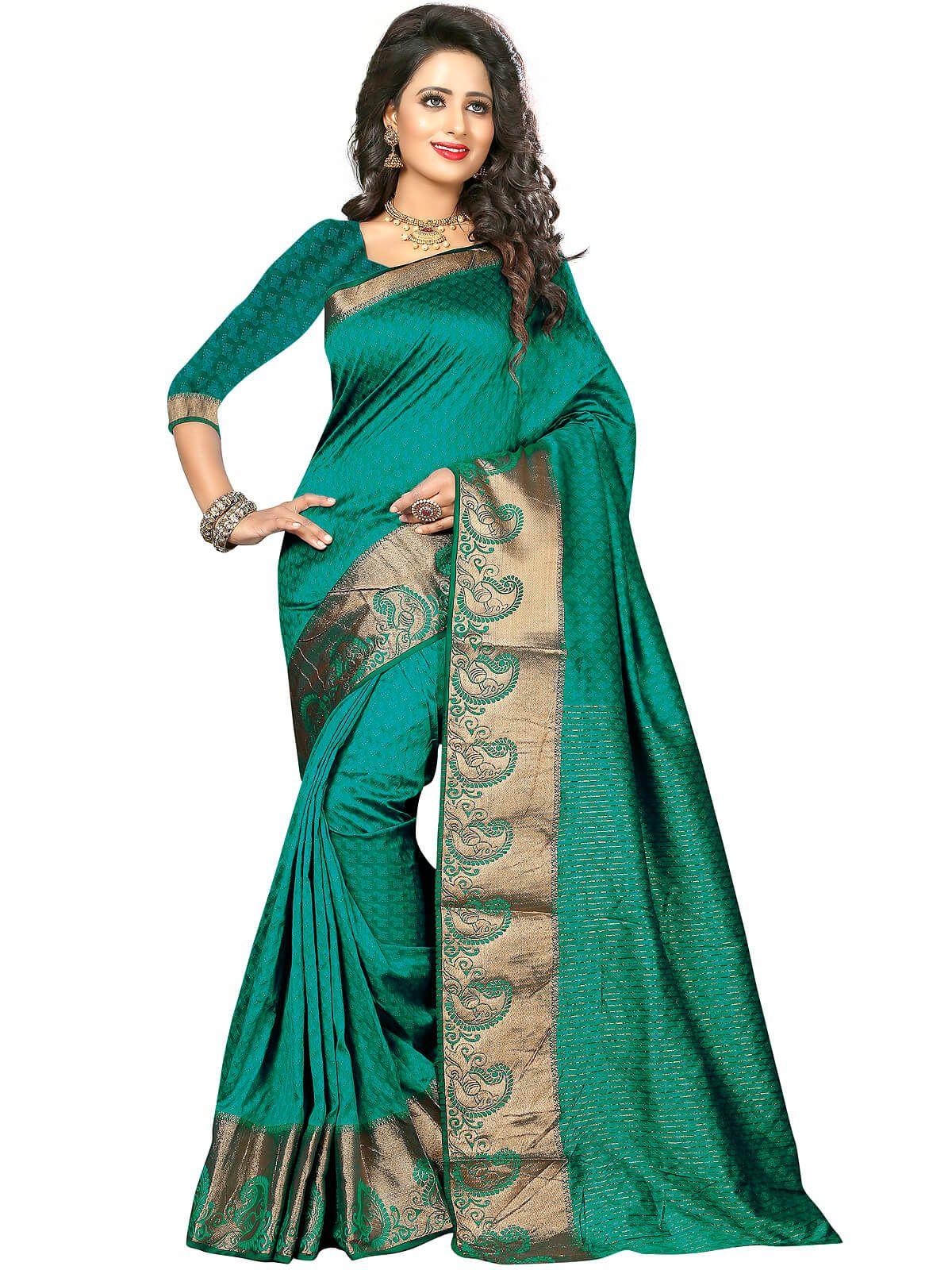 Enchanting turquoise wedding wear poly cotton saree ...