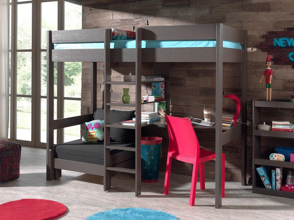 lit mezzanine en pin massif pino avec bureau et couchage d 39 appoint delamaison en 2019 lit