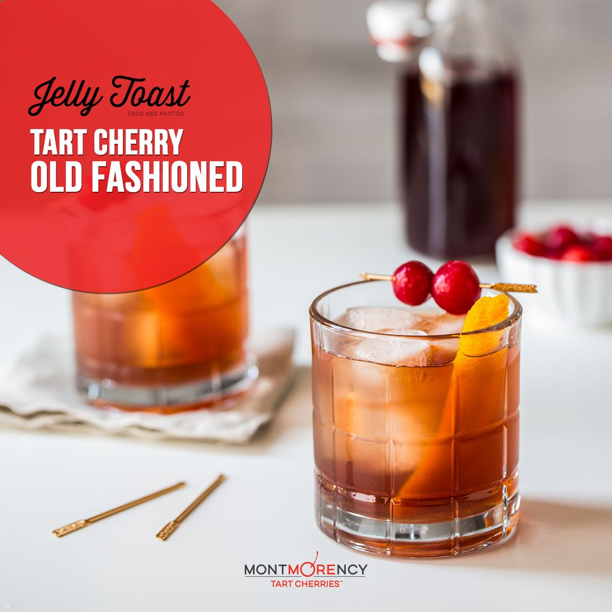 It's cocktail hour! Add a twist to a classic Old Fashioned with this recipe from @jellytoastboard featuring Montmorency tart cherries. #NationalCherryMonth
