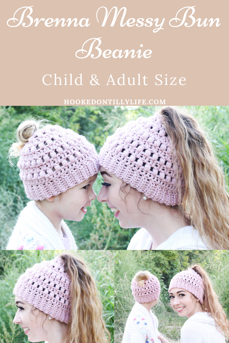 Child Brenna Messy Bun Beanie - Free Crochet Pattern Do ya\u2019ll remember the bun hat craze of 2017? Well, I\u2019m still in it and I\u2019m not planning on leaving anytime soon. #kidsmessyhats