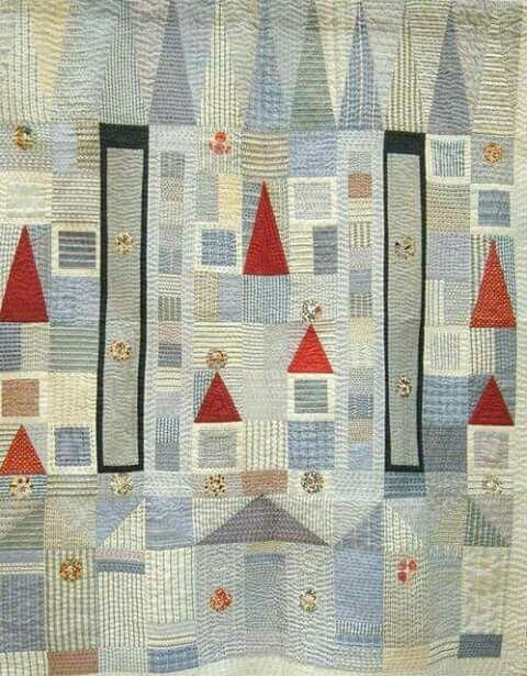 Colcha dibujos geométricos efecto casas