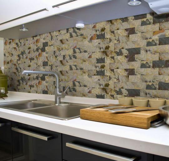 Peel Stick Slate Veneer Wall Tiles Rustic Indian Autumn