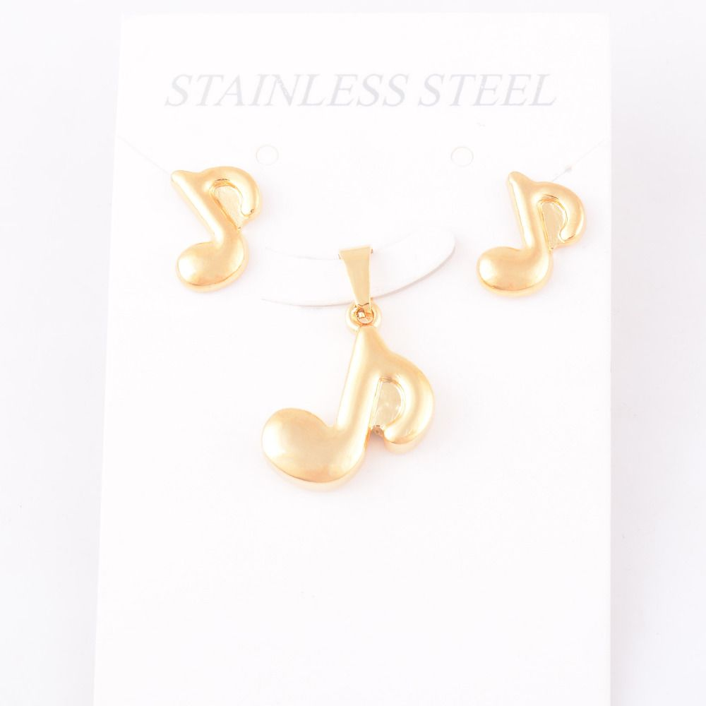 Women men music note pendant and studs earrings stes fashion l