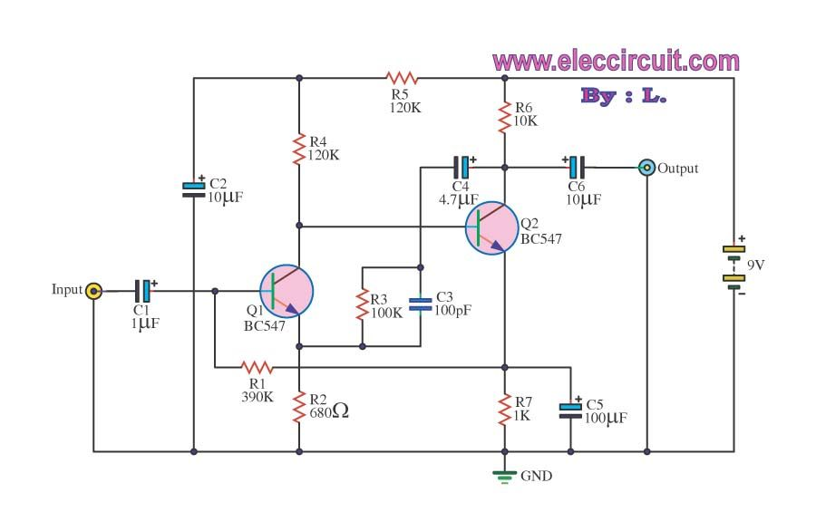 4 Preamplifier circuits using transistors - Eleccircuit.com | Circuits
