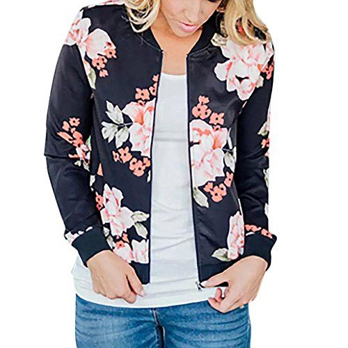 9c6d9fa313e Veste Femme Chic Printemps Automne Blouson Bomber Veste Femmes Motard  Blouson Imprimé Floral Court Zippé Blouson
