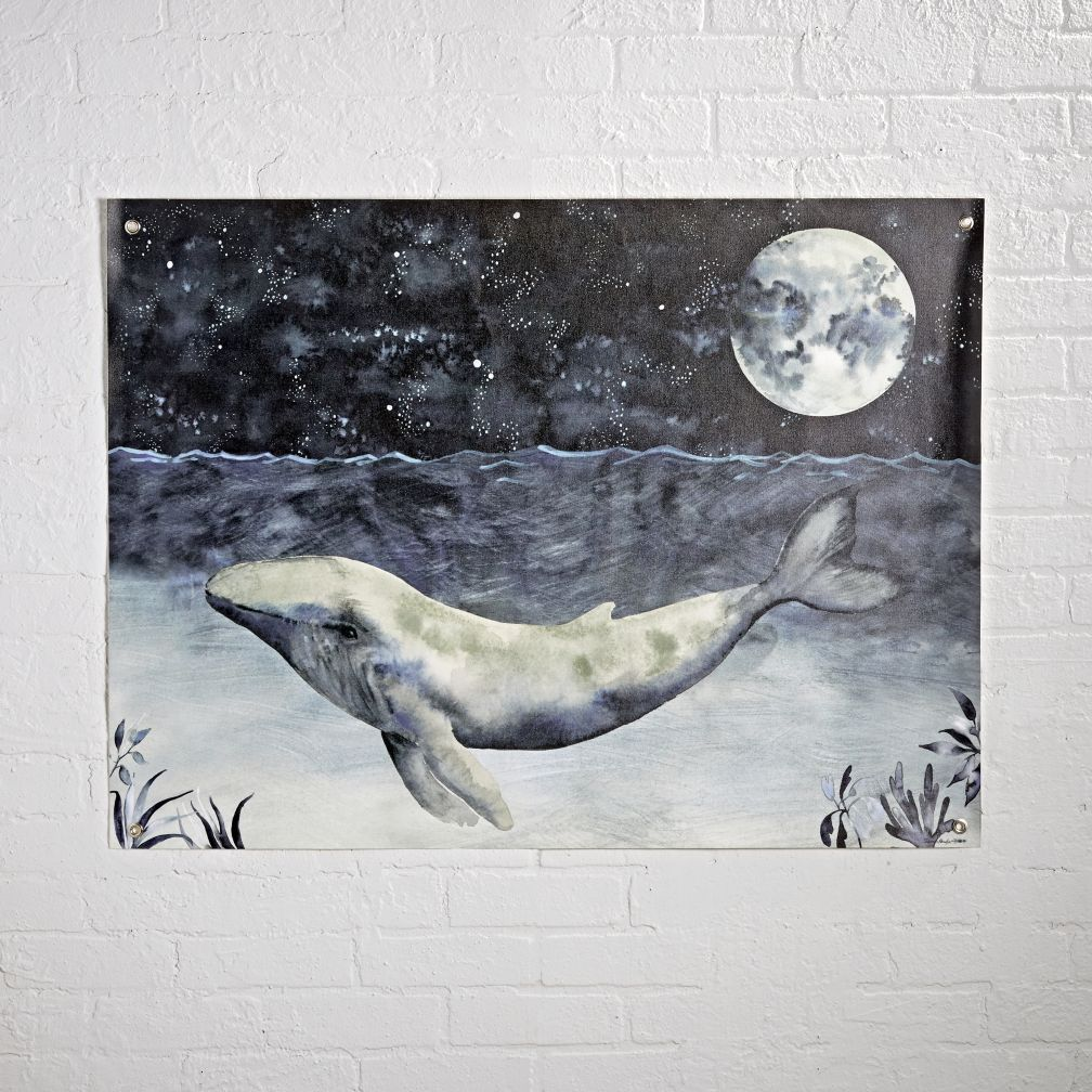 Shop watercolor whale night banner ever swam with a whale in the