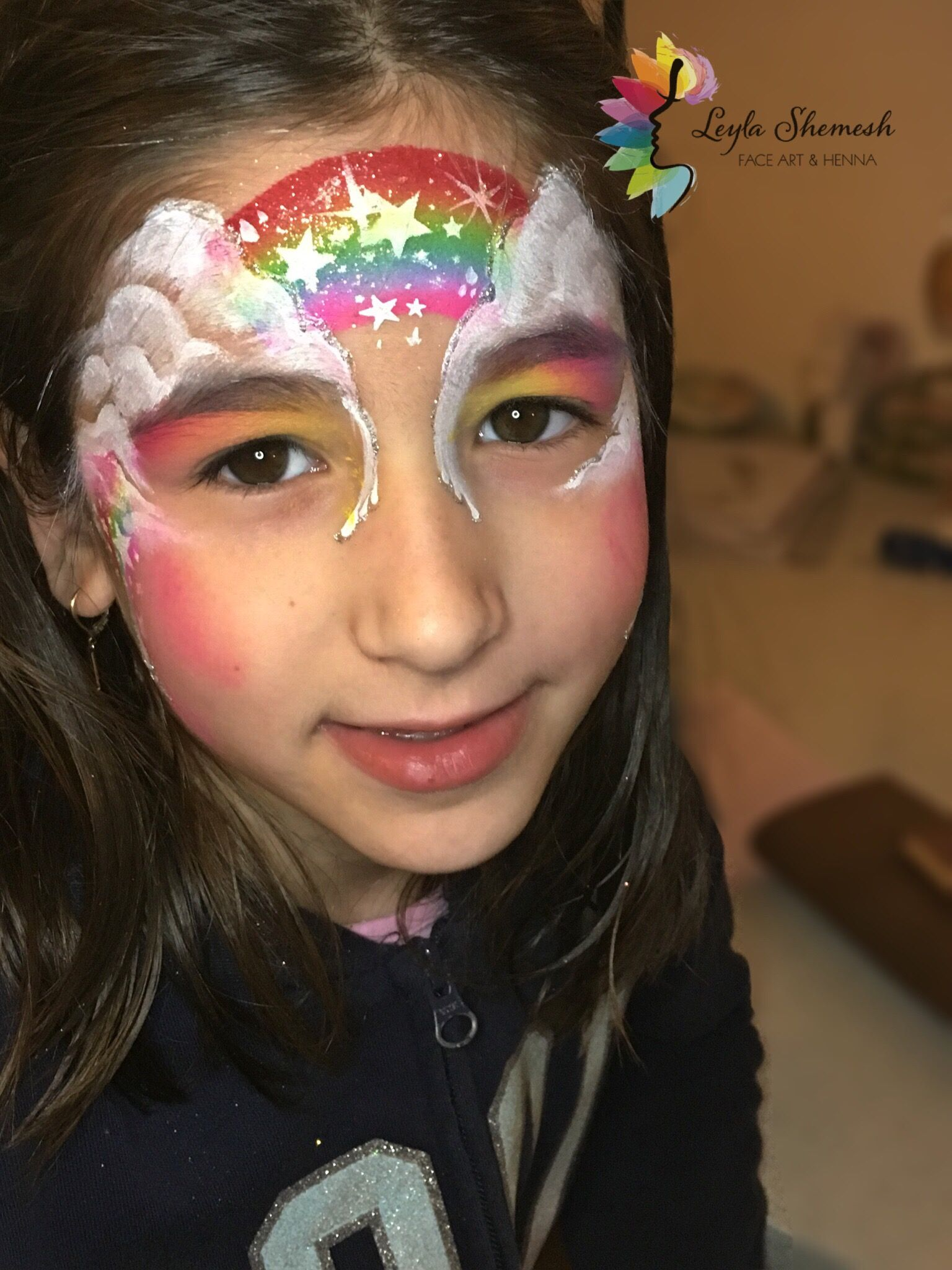 Henna By Leyla Shemesh: Rainbow In The Clouds Facepaint By Leylashemesh Faceart
