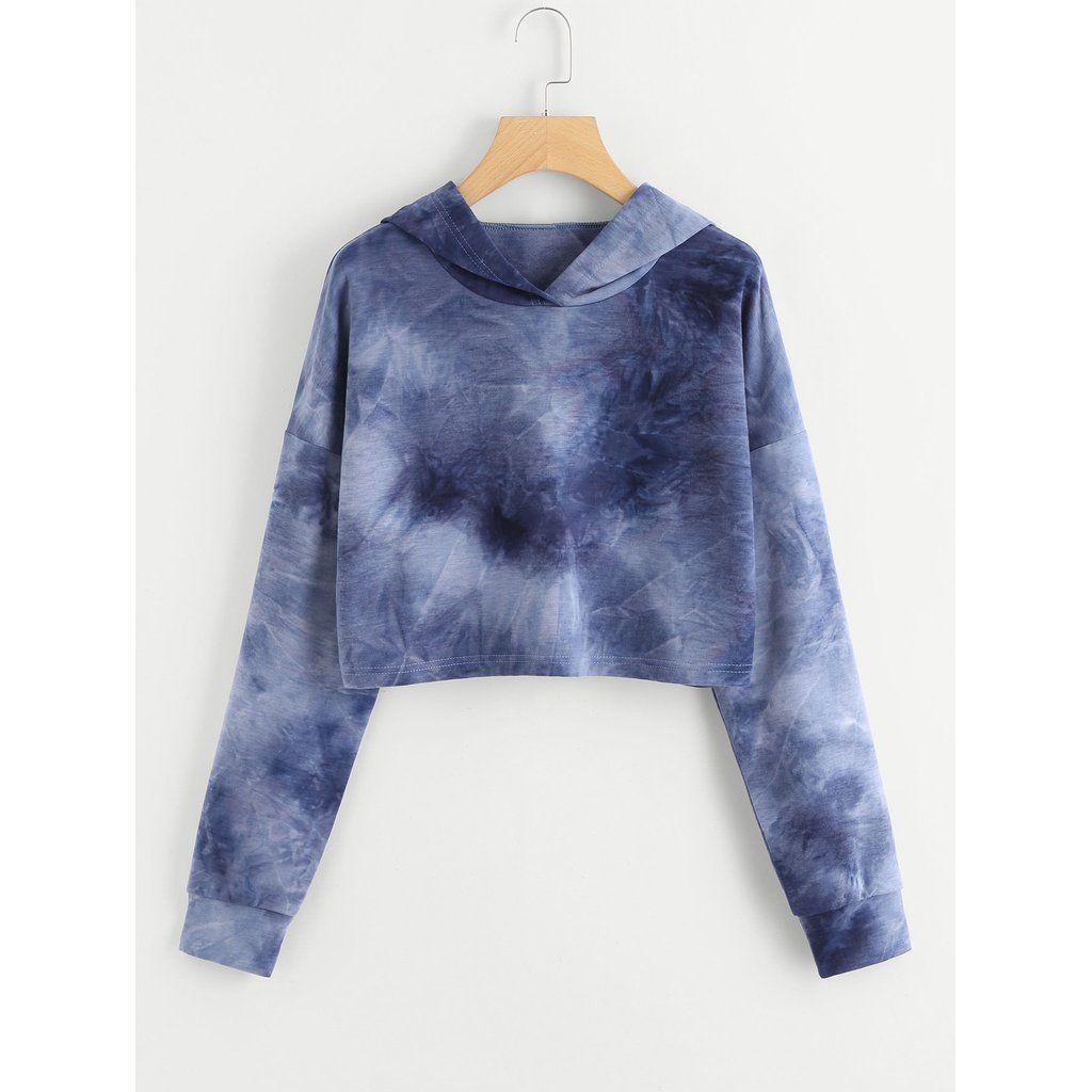 Drop Shoulder Tie Dye Crop Hoodie Crop Top Outfits Women Hoodies Sweatshirts Top Outfits [ 1024 x 1024 Pixel ]