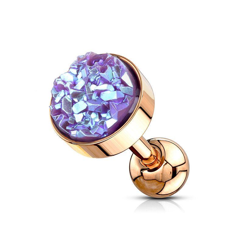 Urban Body Jewelry 16G 5 Opal Stone Brass Septum Clicker