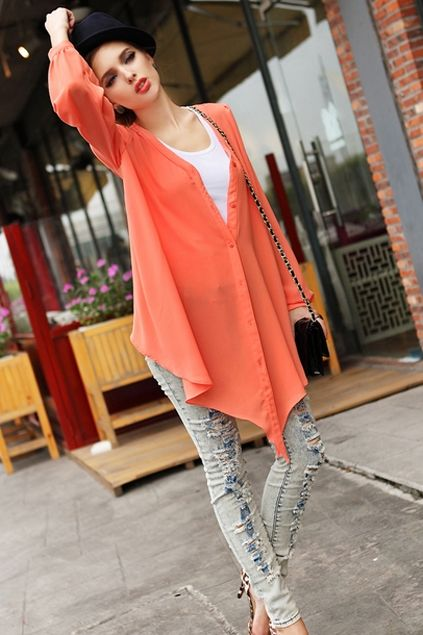 This cardigan crafted in chiffon, featuring v-neckline, long ...