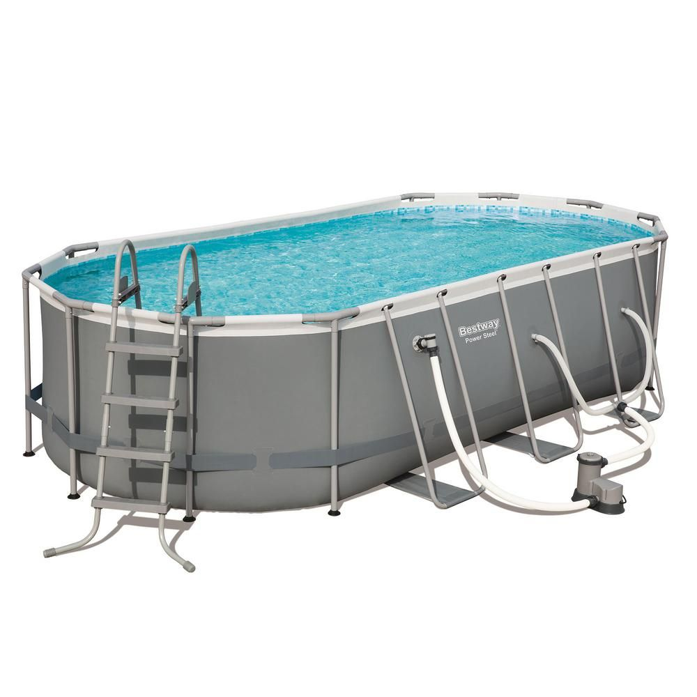 Bestway Power 18 Ft X 9 Ft Oval 48 In D Hard Side Above Ground Pool Set With Pump And Aqua Vacuum 56711e Bw 58422e Bw The Home Depot Above Ground Swimming