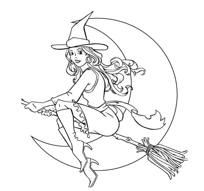Bruja en escoba Halloween  Colorear brujas  Pinterest  Escobas
