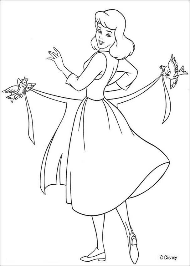 Cinderella cleaning the house Cinderella dressing up - Coloring page ...