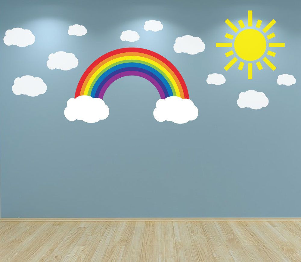 rainbow clouds and sun wall art decal sticker nursery bedroom  - rainbow clouds and sun wall art decal sticker nursery bedroom playroom babyroom