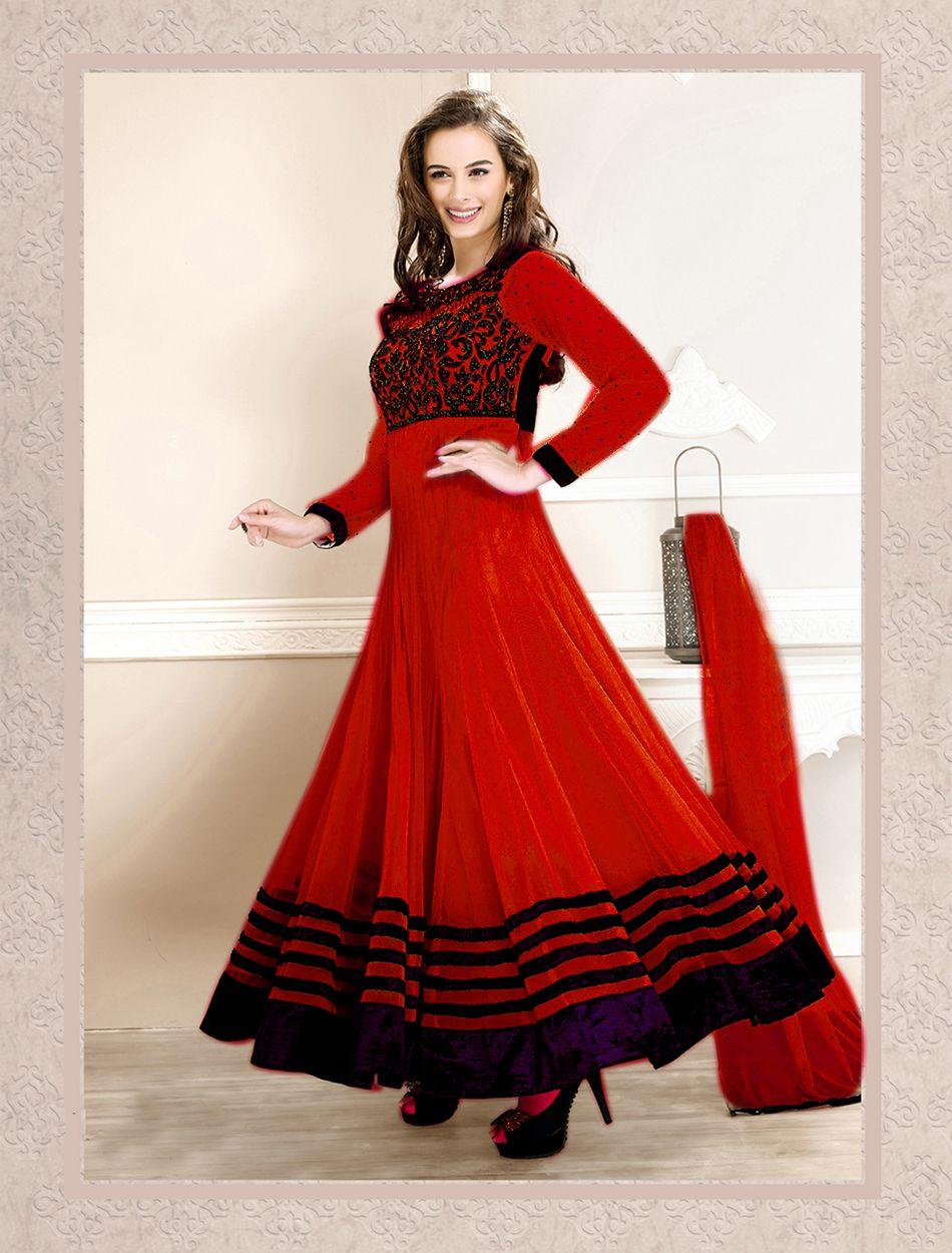 Red heavy bridal anarkali frock 7 suitanarkali in - Thankar New Attractive Designer Red Fullsleeve Anarkali Suit