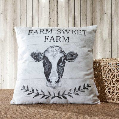 Gracie Oaks Ria Sweet Farm-Cow Indoor/Outdoor Cotton Throw Pillow, Cotton/Polyester/Polyfill in Ivory/Cream, Size 18X18"
