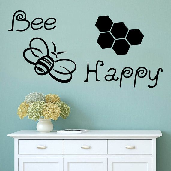 Wall Decal Bee Happy Vinyl Decal Bumble Bee by AdnilCreations