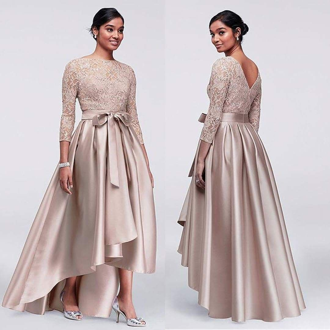 81ae794bd7922 2018 Mother Off Bride Dresses Champagne Lace Applique Sequins Top 3/4 Long  Sleeves Satin High Low Sashes Mother Of The Bride Dress Plus Size Mother  Dresses ...